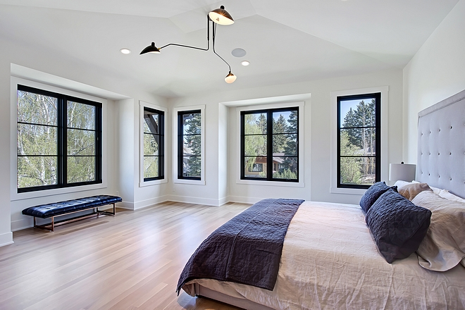 Modern Bedroom with white walls and black steel windows