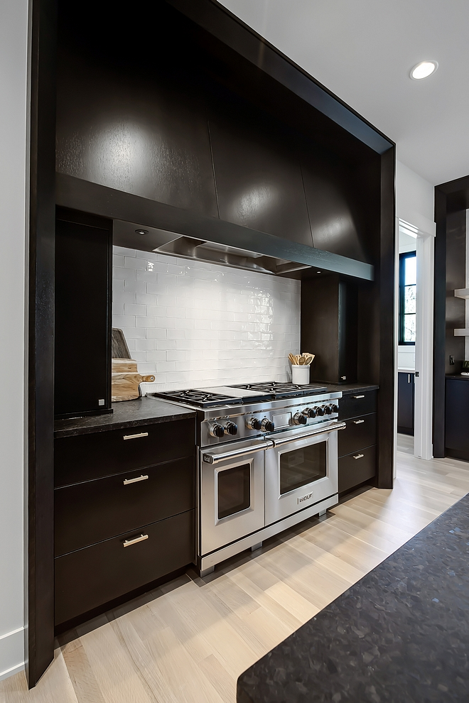 Kitchen Dark Cabinet Dark Cabinetry Kitchen Cabinet All black stained windows and cabinetry is a custom blended black stain and it was shaded to create the depth that you see in the images Any painted cabinets are created with MDF and paint grade woods #KitchenDarkCabinet #DarkCabinet #Cabinetry #KitchenCabinet