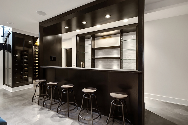 Basement Bar and Glass and black steel wine enclosure #basement #bar #blacksteelwineenclosure