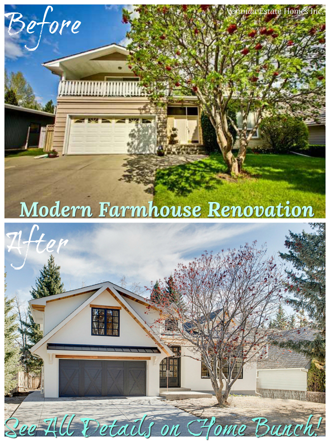 "Before After Exterior Renovation The ""Before & After"" is quite shocking Notice the improved architectural details this home now features Before After Exterior Renovation Modern Farmhouse Before After Exterior Renovation Before After Exterior Renovation #BeforeAfter #BeforeAfterExterior #BeforeAfterExteriorRenovation"