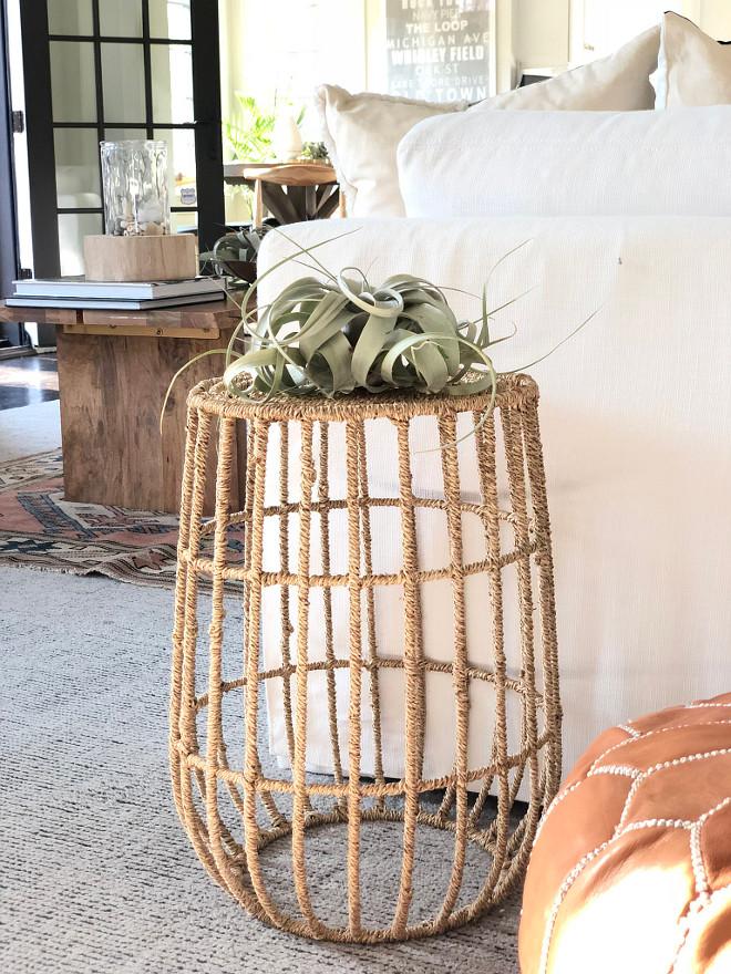 Rope Side Table Jute Basket Side Table Rope wrapped side table rope table sources on Home Bunch Rope accent table #ropesidetable #ropeaccenttable