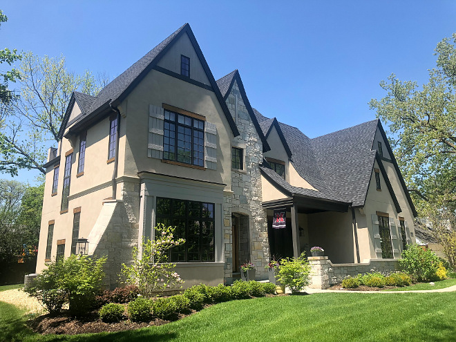 French style home Tan stucco Home with Black trim grey stone and grey shutters Home French style home Tan stucco Home with Black trim grey stone and grey shutters Home #Frenchstylehome #Frenchstylehomes #Frenchhome