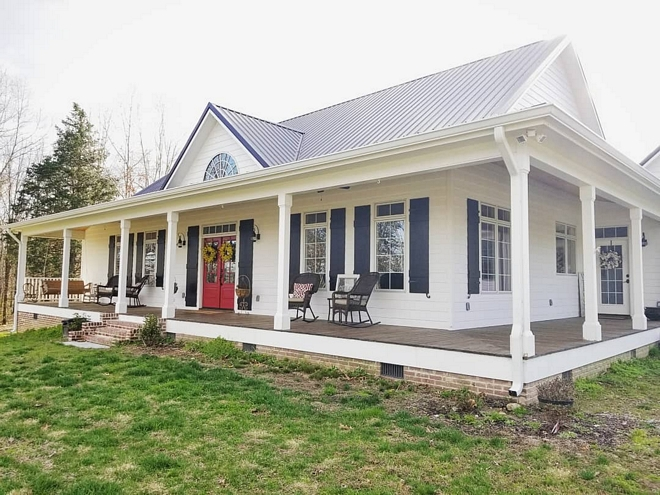Farmhouse wrap-around porch with black shutters and metal roof Farmhouse wrap-around porch with black shutters and metal roof Farmhouse wrap-around porch with black shutters and metal roof Farmhouse wrap-around porch with black shutters and metal roof #Farmhouse #wraparoundporch #blackshutters #metalroof