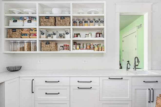 Pantry Kitchen pantry Pantry Pantry kitchen pantry features white quartz countertop and open upper cabinetry Kitchen Pantry Pantry #Pantry #kitchenPantry