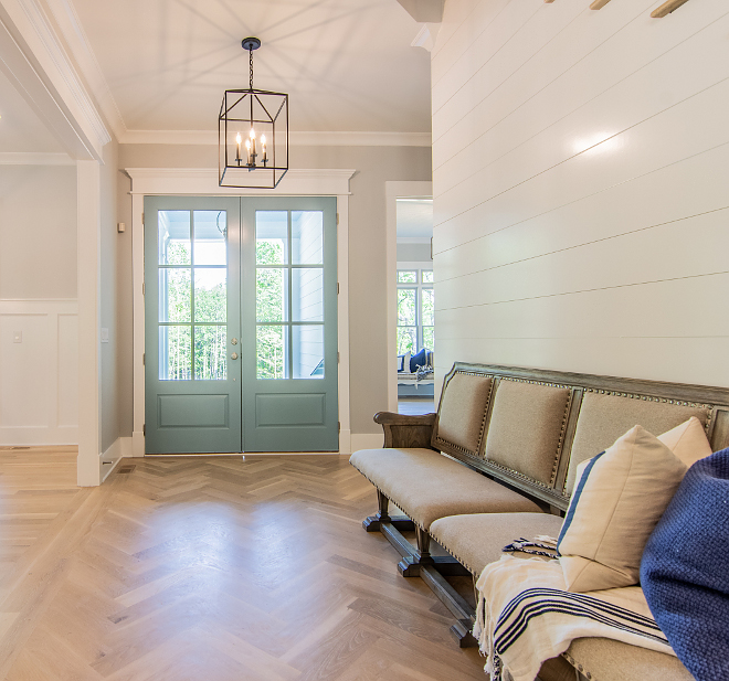 Herringbone Hardwood Flooring Herringbone Hardwood Flooring Foyer with Herringbone Hardwood Flooring and shiplap walls Herringbone Hardwood Flooring Herringbone Hardwood Flooring #HerringboneHardwoodFlooring