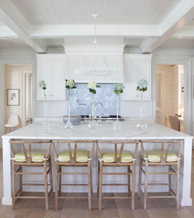 White Kitchen with accent backsplash tile accent backsplash tile above range is by Ann Sacks #accentbacksplashtile
