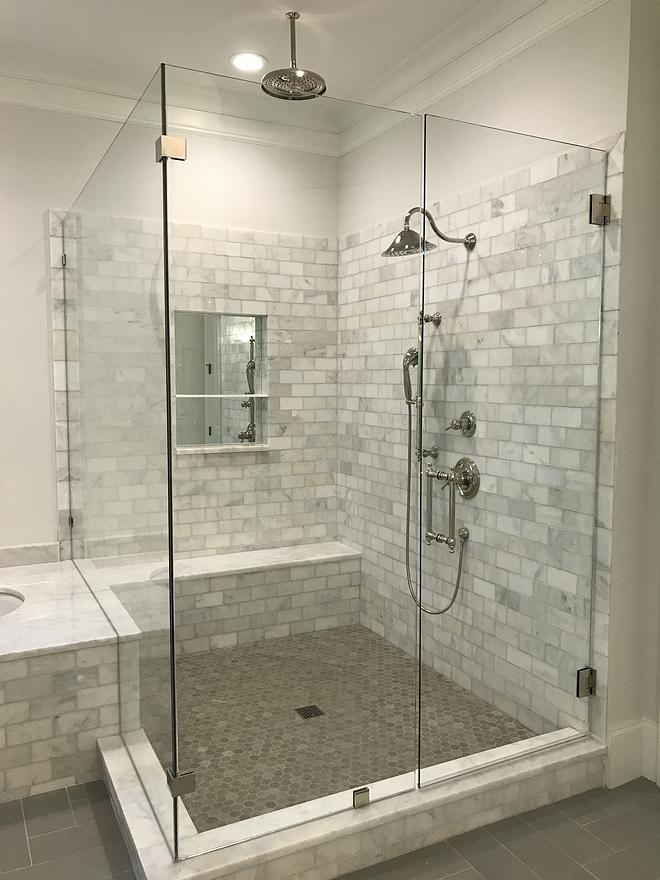 Master shower walls Alba Vera marble 3x6 polished tile #showertile #showerwalls #tile