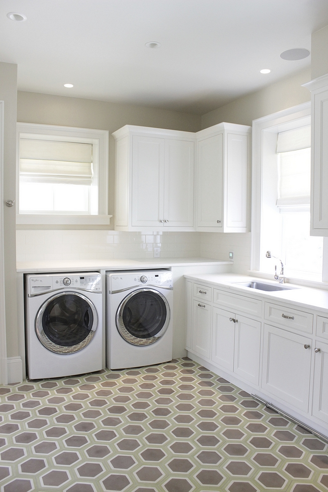 Laundry room wall paint color is Tapestry Beige by Benjamin Moore and cabinets are White Dove by Benjamin Moore. These neutral colors work really well together #BenjaminMoore #neutralpaintcolors #neutrals