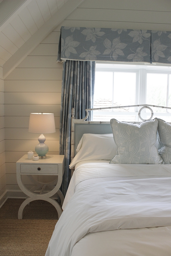 White and soft blue coastal bedroom color scheme