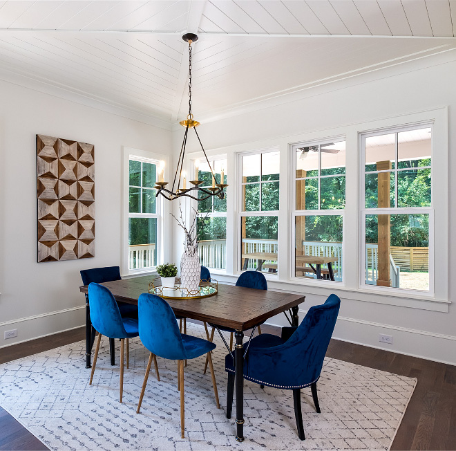 """Dining Room X Beam Ceiling The ceiling is called an """"x-beam"""" ceiling, and we inset shiplap trim to add texture and visual interest, and because Chip and Joanna Gaines and the whole Modern Farmhouse style called for it #XBeamCeiling"""