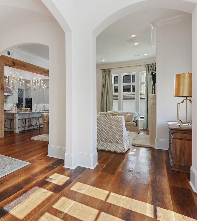 Rustic Wide Plank Hardwood Flooring Rustic Wide Plank Hardwood Flooring Wood floors are reclaimed Dirty top White Oak 10.5-inch-wide boards finished in Provincial stain #RusticHardwoodflooring #WidePlankHardwoodFlooring #PlankHardwoodFlooring