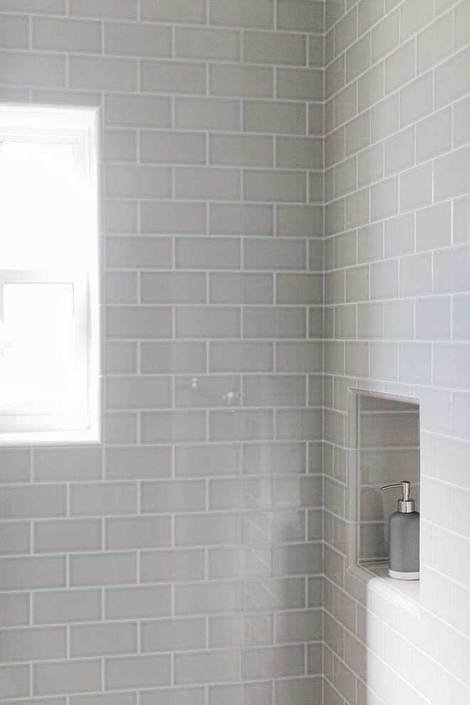 Grey subway tile Bathroom with 3x6 grey subway tile sources on Home Bunch #greysubwaytile