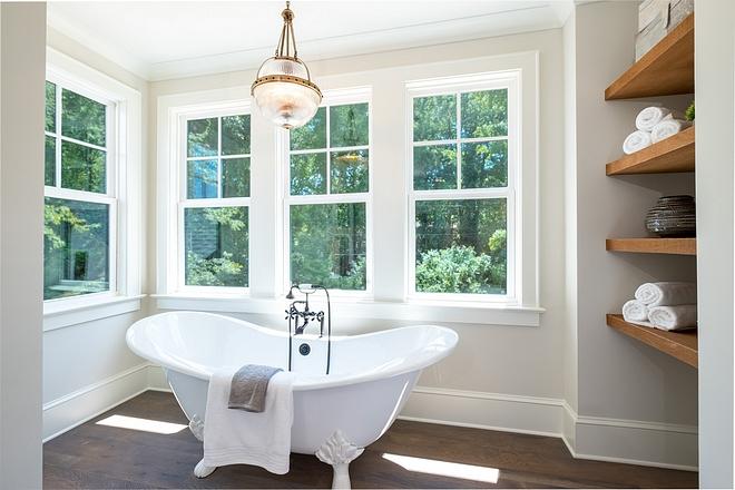 Bath nook with cedar shelves niche becomes a convenient spot for towels and accessories Floating shelving #bathroom #bathnook #niche #shelvesniche #shelvingniche #floatingshelves