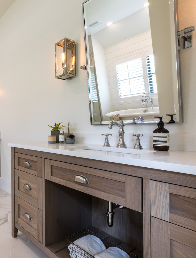 Bathroom Vanity Oak cabinets stained with custom color with white quartz countertop Bathroom Vanity Oak cabinets stained with custom color with white quartz countertop #BathroomVanity #Oakcabinets