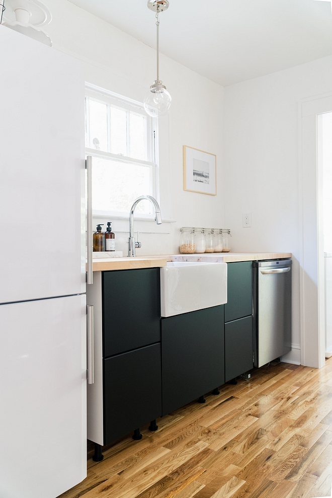I fell in love the moment I saw the new matte black KUNGSBACKA cabinet fronts at IKEA First kitchen fronts line made entirely from recycled plastic bottles and reclaimed industrial wood. Twenty five plastic bottles are used for every 40x80cm unit