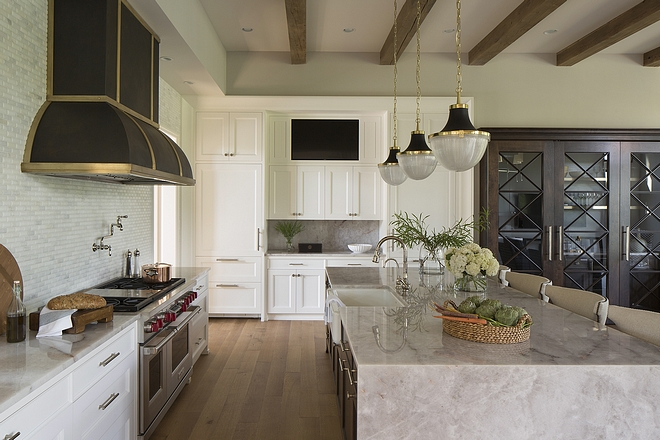 Kitchen TV Ideas Where to place a tv in the ktchen Best places to placed tv in kitchen A TV is place in the custom hutch #tvKitchen #kitchentv #tvkitchencabinet