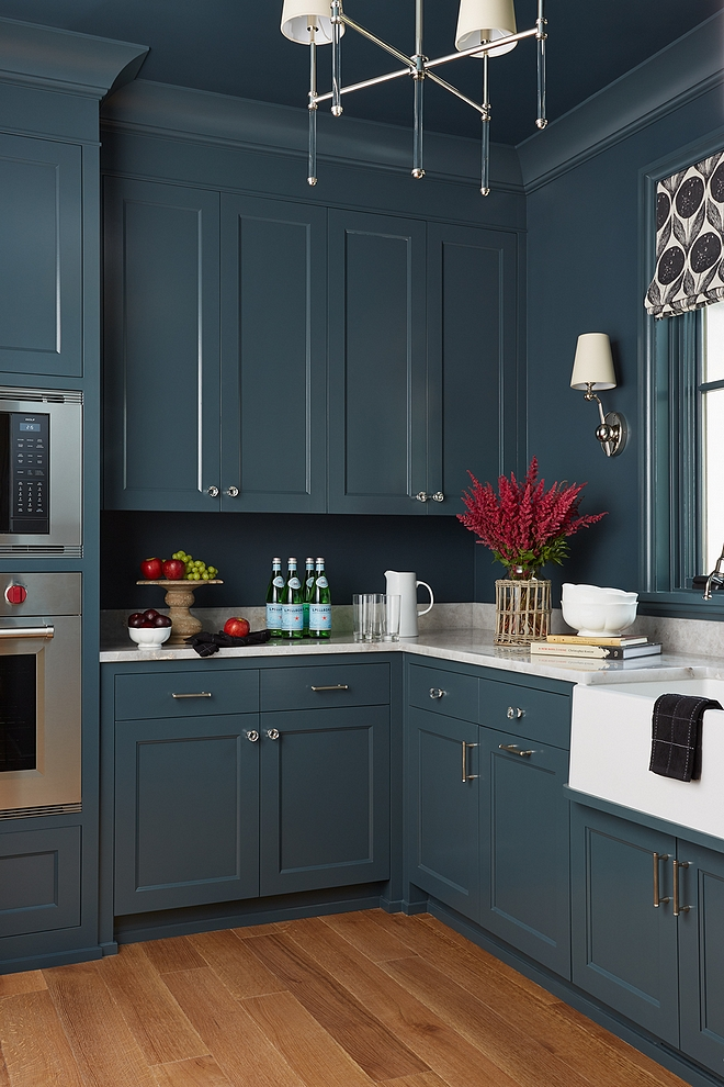 Sherwin Williams SW 7625 Mount Etna Blue cabinet Paint Color #SherwinWilliamsSW7625MountEtna #bluecabinet #paintcolor