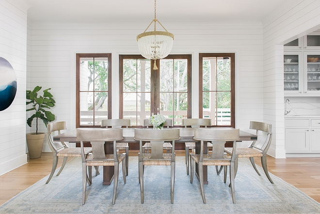 Dining Room Shiplap Dining Room Bright and airy dining room with shiplap walls painted in BM Chantilly Lace #diningroom #shiplap #diningroom #diningroomshiplap