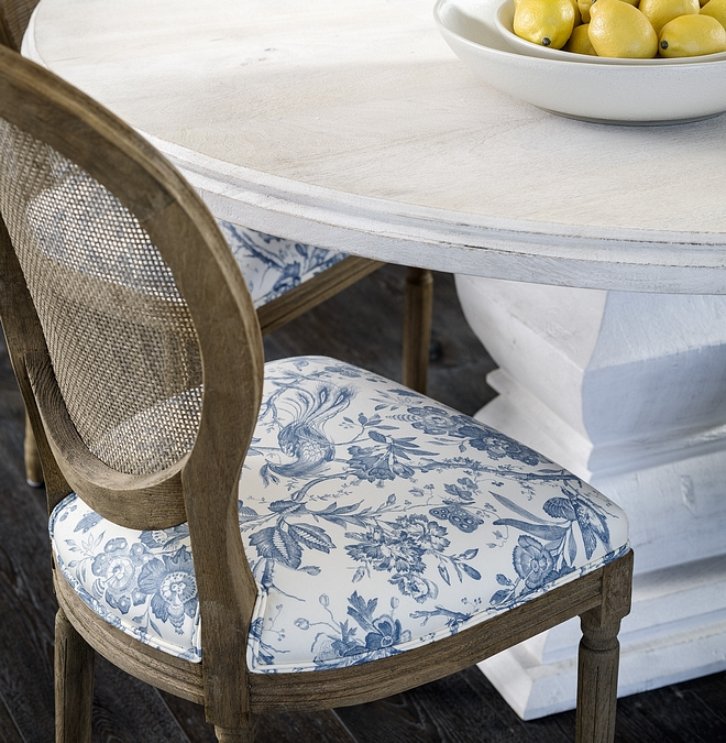 Dining Chair The dining chairs are from Restoration Hardware and the designer reupholstered them in a blue and white Schumacher fabric #diningchair