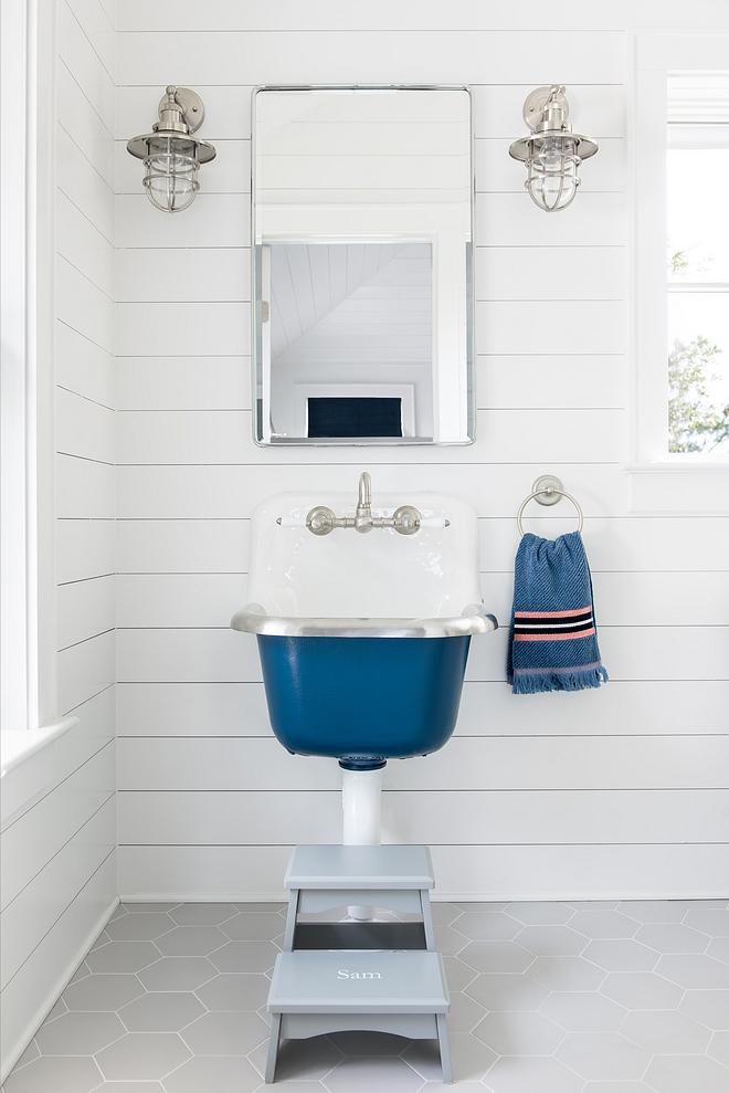 Benjamin Moore 1680 Hudson Bay Costal bathroom with Kohler sink painted in Benjamin Moore 1680 Hudson Bay #BenjaminMoore1680HudsonBay #BenjaminMoore