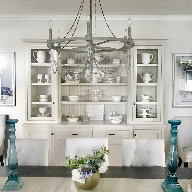 Dining room chandelier French Chandelier in lake house dining room six light single tier chandelier in french washed oak distressed white wood Chandelier #Chandelier #diningroom #diningroomchandelier