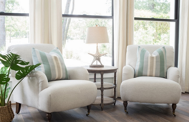 Bedroom sitting area with a pair of English Roll Arm chairs and 3 Tier Round Side Table With Cane Shelves side table #sittingarea EnglishRollArmchairs