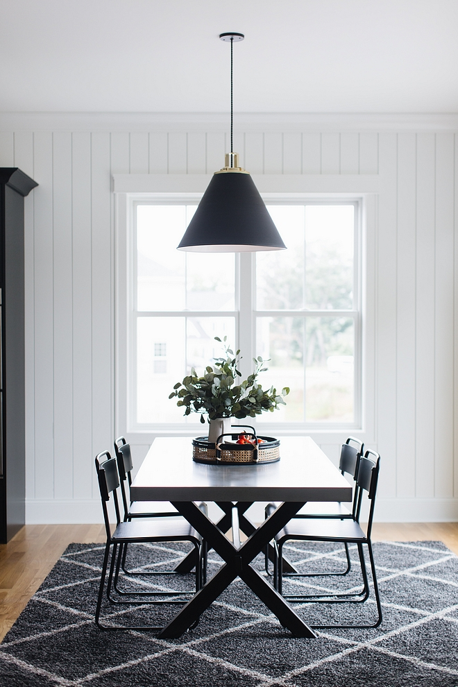 Modern Farmhouse Breakfast room with plank walls and black cone pendant light Modern Farmhouse Breakfast room Modern Farmhouse Breakfast room #ModernFarmhouse #Breakfastroom