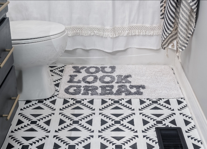 Floor stencil design Ideas I decided one evening to attempt to stencil the floors and it was a great decision and the perfect short term fix #Floorstencil