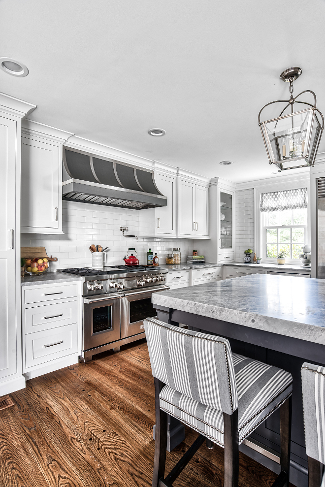 One of my favorite part of this kitchen is the exotic marble with double thickness countertop Counters are a marble, honed Alpi Apuane #marble #honedmarble #AlpiApuane #AlpiApuanemarble