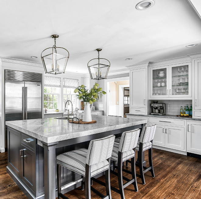 Behr Shadow Mountain Kitchen island paint color The grey kitchen island is a paint match to Behr Shadow Mountain #BehrShadowMountain