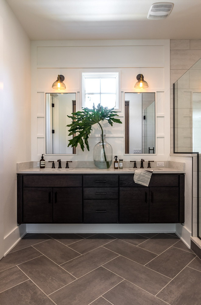 Vertical Board and Batten This bathroom features vertical board and batten wall paneling and herringbone floor tile Vertical Board and Batten Vertical Board and Batten #VerticalBoardandBatten #wallpaneling #BoardandBatten #herringbonetile