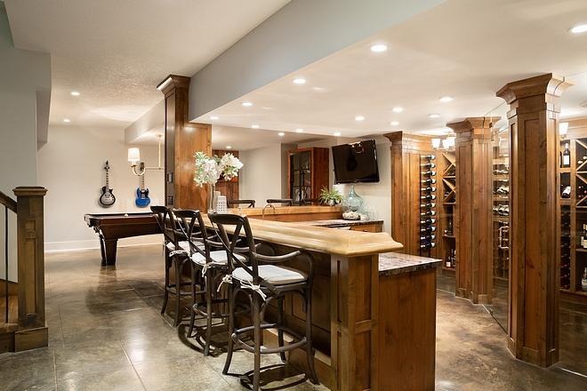 Alder Cabinetry Basement Bar and Wine Room