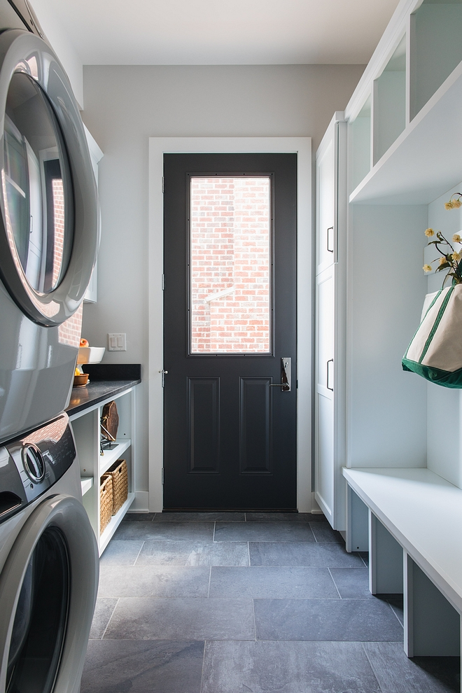 Wrought Iron by Benjamin Moore The mudroom door is painted in Wrought Iron by Benjamin Moore Wrought Iron by Benjamin Moore #WroughtIronbyBenjaminMoore