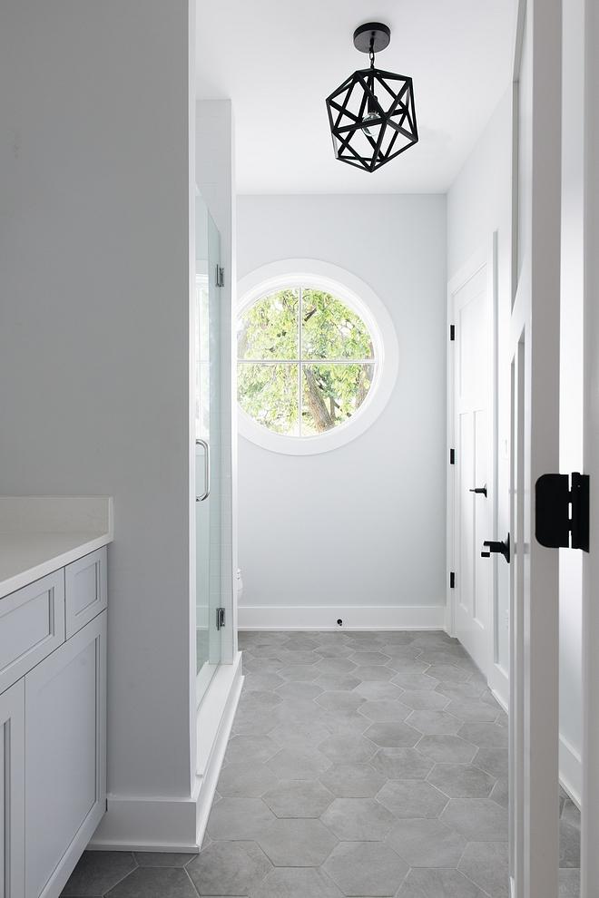 Hex Floor Tile Bathroom Flooring Attitude hexagon matte 8.5x10 simple grey tile #HexFloortile #BathroomFlooring #hextile