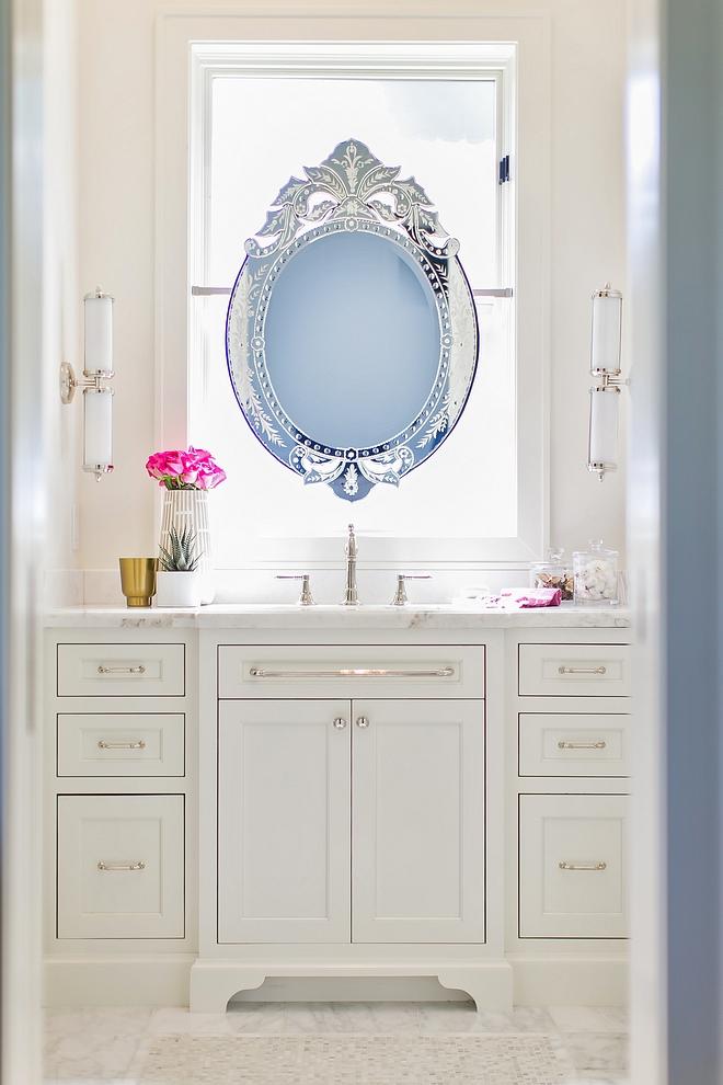 Bathroom with floating mirror over window How to Hang a Mirror On a Window Bathroom floating mirror Bathroom mirror on window #Bathroom #floatingmirror #windowmirror