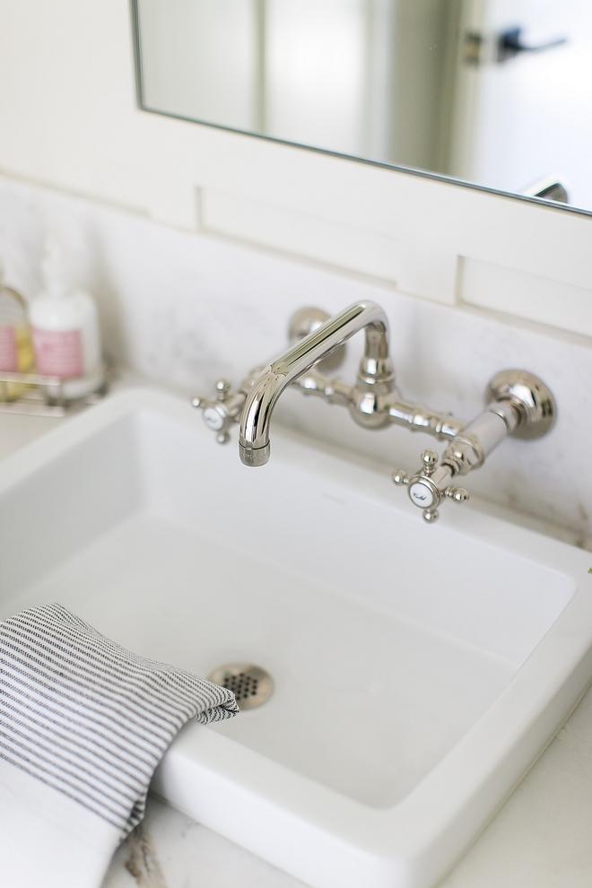 Wall-mounted bathroom faucet polished nickel source on Home Bunch Wall-mounted bathroom faucet polished nickel #Wallmountedbathroomfaucet #polishednickelfaucet