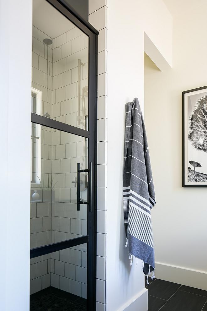 Shower with black steel door Shower with black steel door and white tile Shower with black steel door #Showerblacksteeldoor