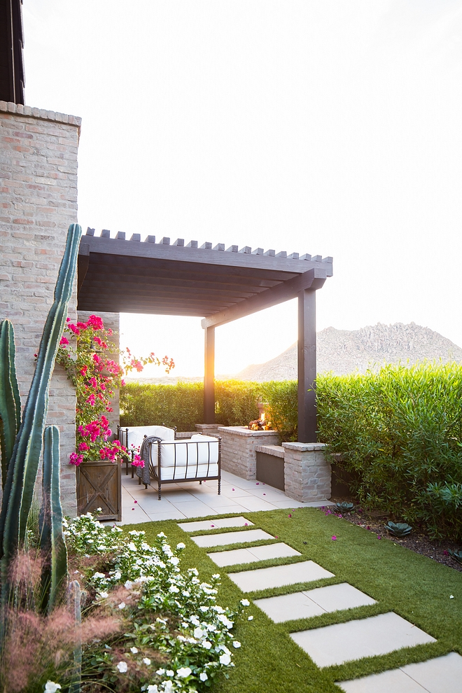 Prvate patio Small patio out of master bedroom with pergola and outdoor fireplace #patio #pergola #smallpatio #outdoorfireplace