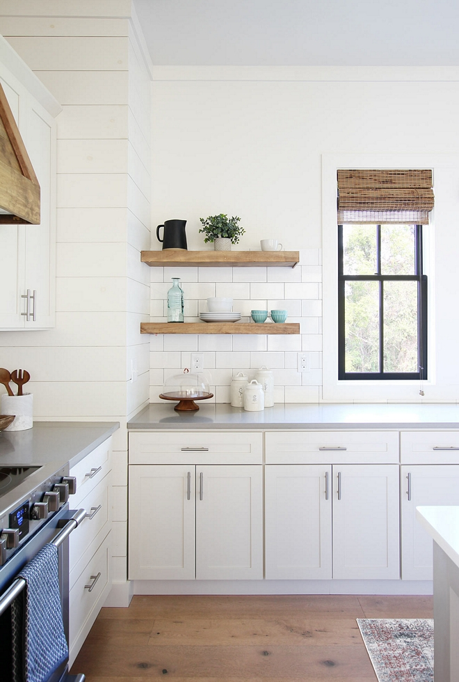 DIY floating kitchen shelves The floating kitchen shelves are made of clear pine wood with a combination of red oak and classic gray stain DIY floating kitchen shelves #DIYfloatingkitchenshelves #DIYfloatinghelves #DIYkitchenshelves