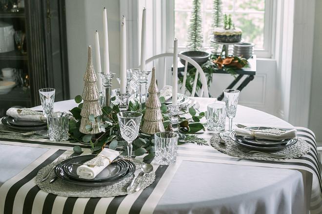 Black and white Christmas Table Decor
