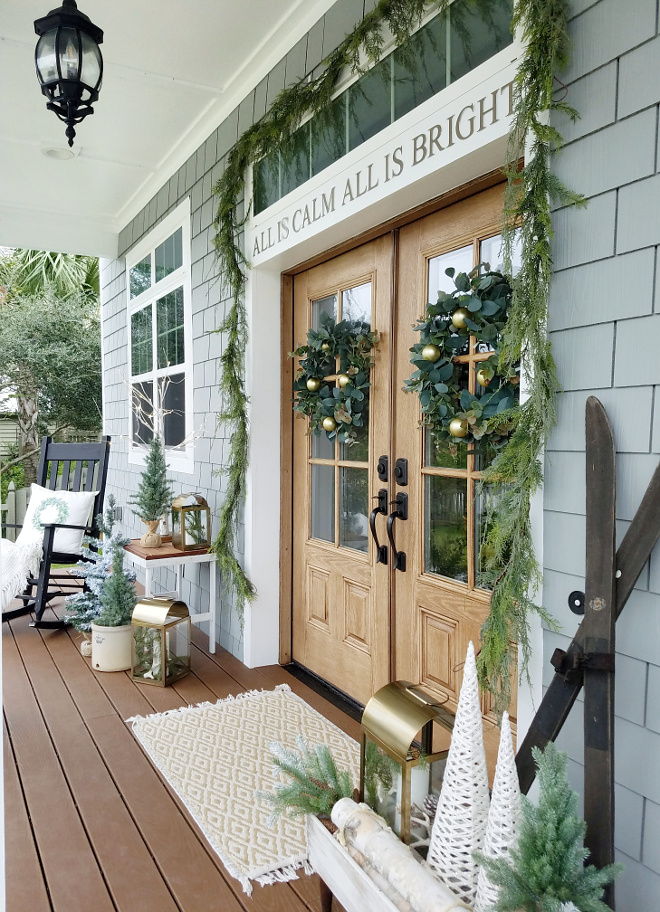 Christmas Front Porch Decor New Christmas Decorating ideas for front porch Front door with faux pine garland Christmas Front Porch Decor New Christmas Decorating ideas #ChristmasFrontPorch #ChristmasDecor #NewChristmasDecoratingideas #NewChristmasDecor #ChristmasFrontdoor