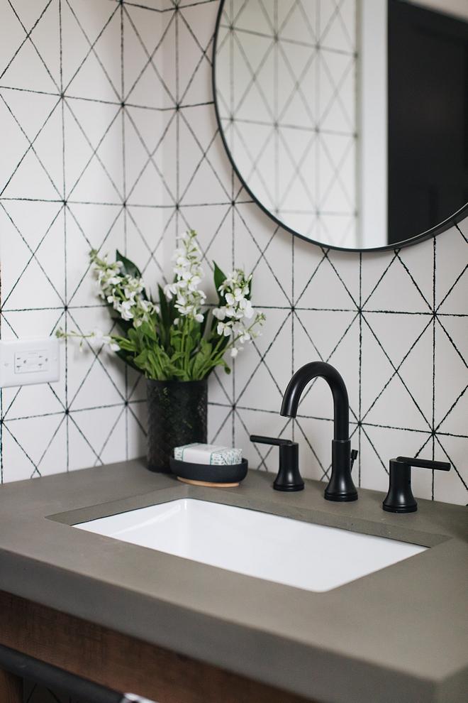 Concrete bathroom countertop with black matte faucet Bathroom Concrete bathroom countertop with black matte faucet #bathroom #Concretecountertop #Bathroomcountertop #blackmattefaucet