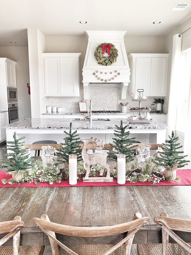 Christmas Dining Table Decor My dining table decor was very simple to create by just adding mini trees and a few wooden deer #ChristmasDiningTableDecor #ChristmasDiningTable