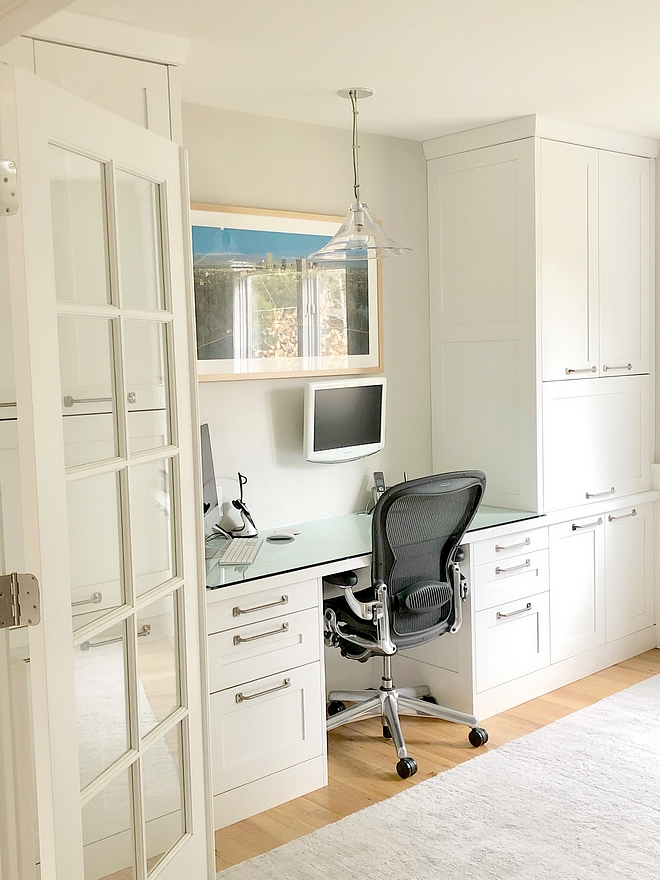 Home Office Renoavtion In the office space we designed a desk and floor to ceiling cabinets as his work space and then on the other side of the room we made a sitting area for clients #homeofficerenovation #officerenovation