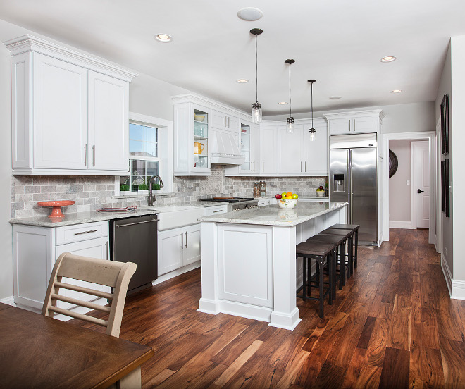 Kitchen Hardwood flooring and Sherwin Williams Pure White Cabinets #Kitchen #Hardwoodflooring #SherwinWilliamsPureWhite #Cabinet