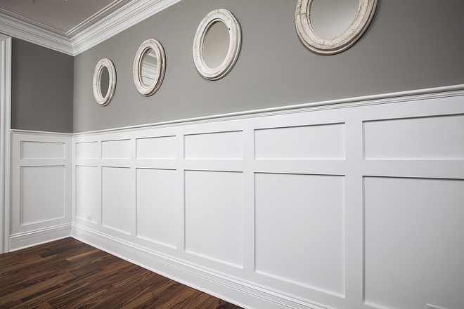 Wainscoting Adding wainscoting to a room is a great way to add a custom feel without breaking the bank. This is the type of detail that really differentiates a home from a cookie-cutter #wainscoting