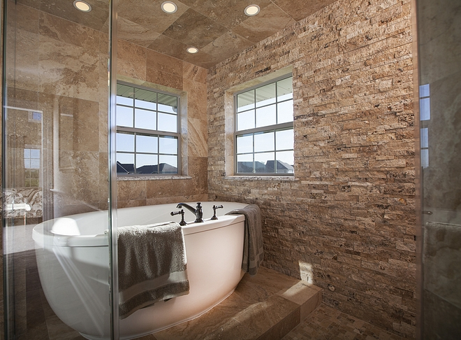 Bath Nook with stacked stone Natural feel Bath Nook Ideas #BathNook