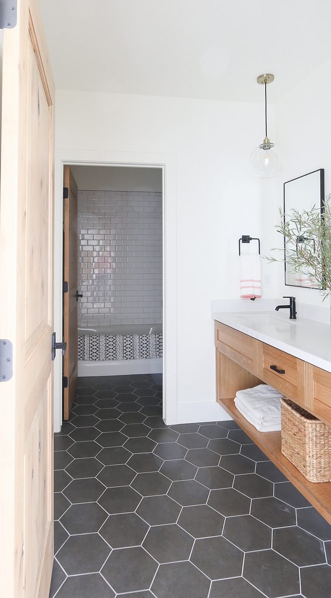 Bathroom large Hex floor tile Modern Farmhouse bathroom with white oak vanity and large Hex floor tile Bathroom large Hex floor tile Bathroom large Hex floor tile Bathroom large Hex floor tile #Bathroom #largeHexfloortile #hextile