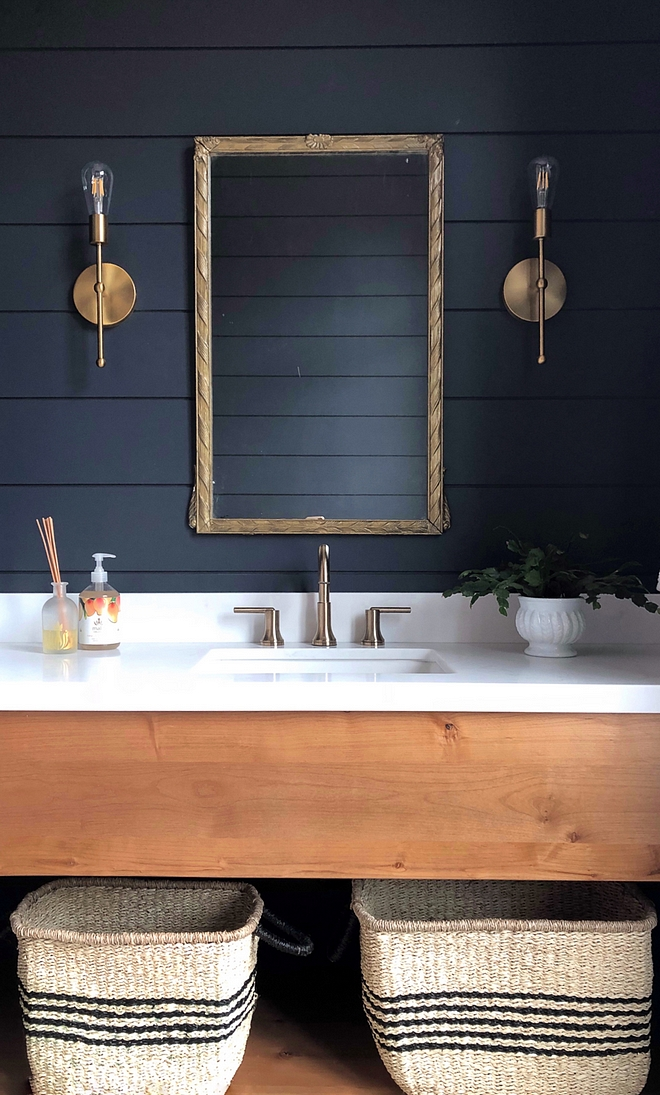 Alder Vanity with white quartz countertop Bathroom Alder Vanity with white quartz countertop and black shiplap Alder Vanity with white quartz countertop #AlderVanity #whitequartz #countertop #blackshiplap