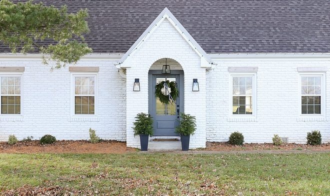 Brick Home Renovation Brick Painted White Paint Color Sherwin Williams Pure White How to update a brick home with paint #BrickHomeRenovation #BrickExterior #PaintedWhiteBrick #PaintColor #SherwinWilliamsPureWhite